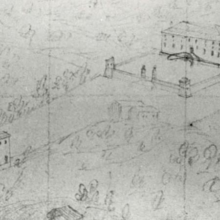 13 - Chiesa di Gavedo e palazzo Brignole Sale, disegno prospettico