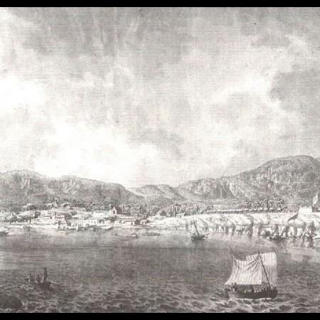 Porto di Acapulco. Le corvette Descubierta e Atrevida in fondo a sinistra