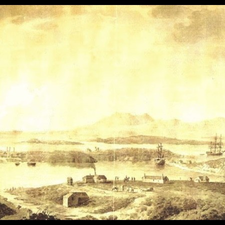 Veduta della rada e del presidio di Zamboanga