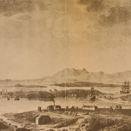 Panorama della darsena e dell'insediamento di La Soledad. Le corvette Descubierta e Atrevida