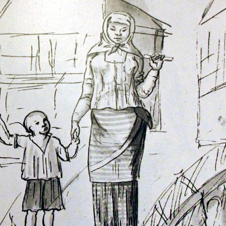 Indigena che passeggia con il figlio