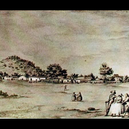 Veduta di Santiago e del colle di Santa Brigida